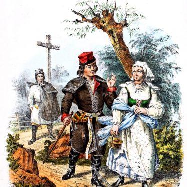 Polnische Landleute aus der Gegend von Skalbmierz.