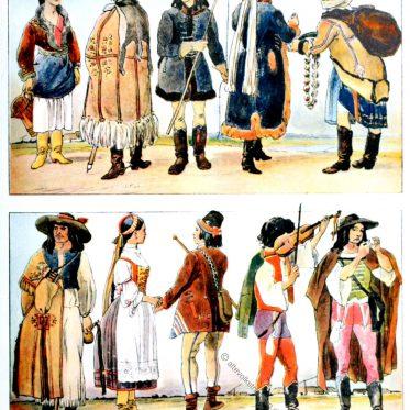 Ungarn. Historische Volkstrachten um 1900.