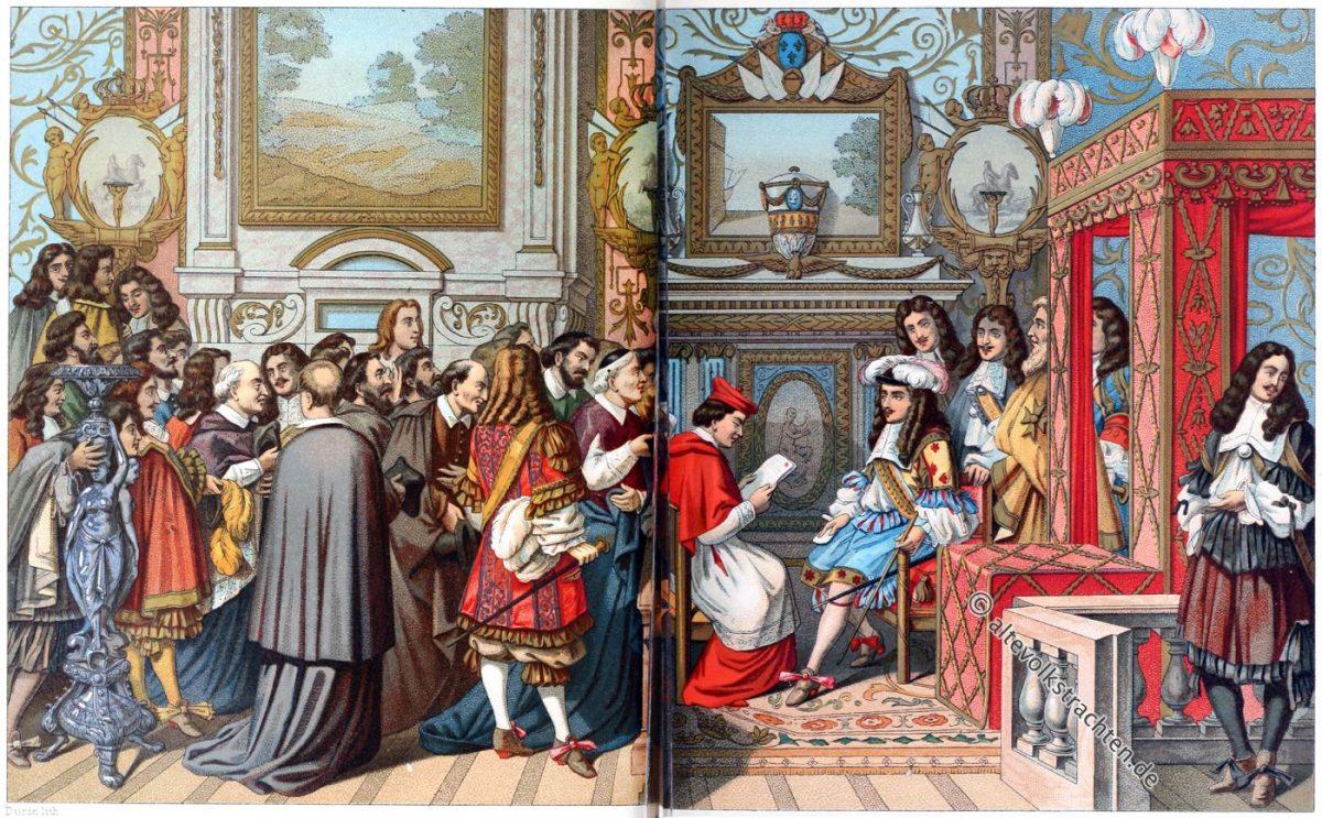 Ludwig XIV., Staatstrachten, Hoftrachten, Kostüme, Frankreich, Barock, Gobelin, Auguste Racinet, Lebrun