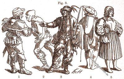 Bauern, Bürger, Trachten, Mittelalter, Hans Burgkmair, Hans Schäuffelin, Hans Weigel, Friedrich Hottenroth, Volkstrachten