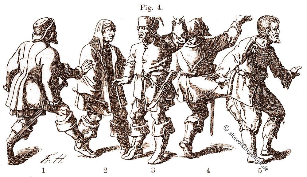 Bauerntrachten, Mittelalter, Friedrich Hottenroth, Hans Burgkmair, Hans Schäuffelin, Hans Weigel