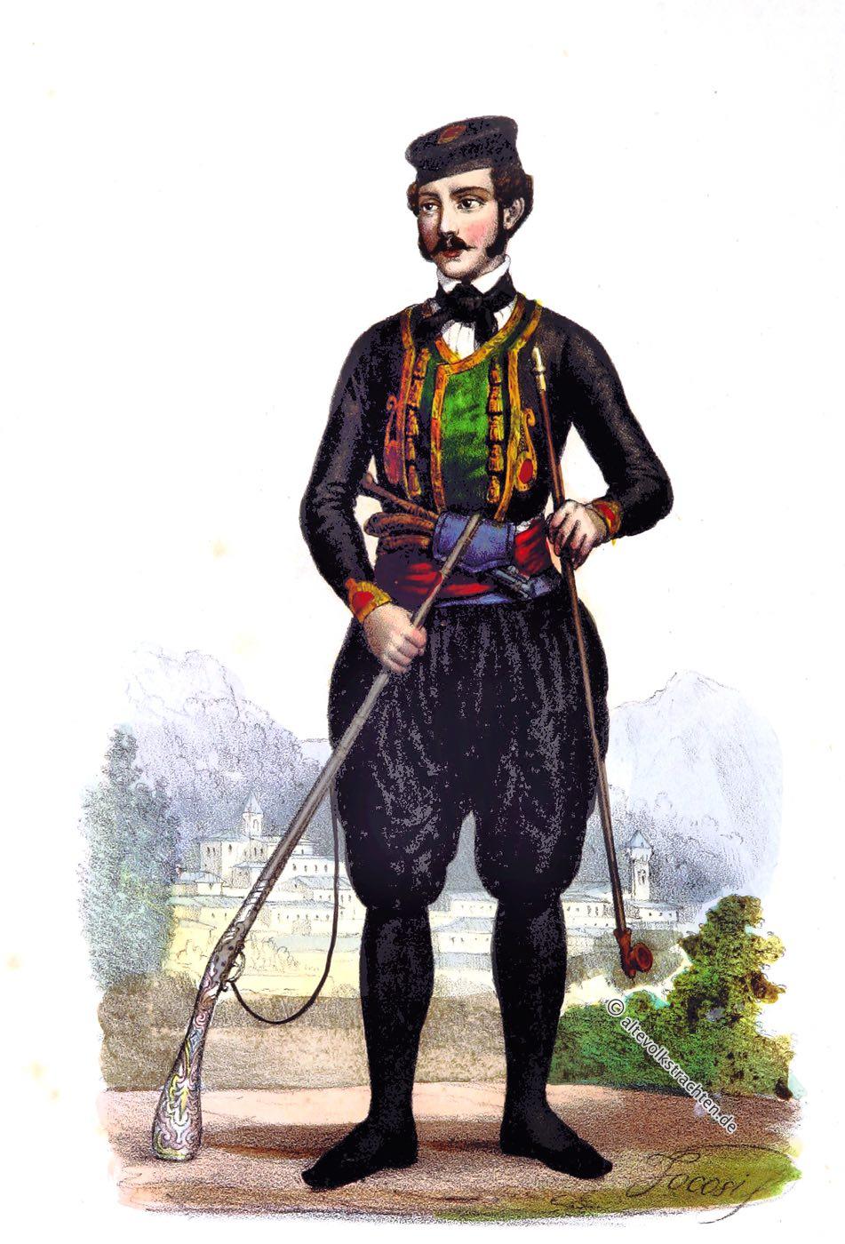 Dobrota, Trachten, Costumes, Montenegro, Dobroèanin, Dalmazia, Francesco Carrara, costumi nazionali