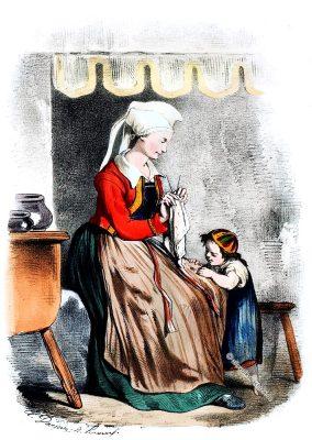 Elven, Bretagne, Trachten, Bäuerin, Costumes