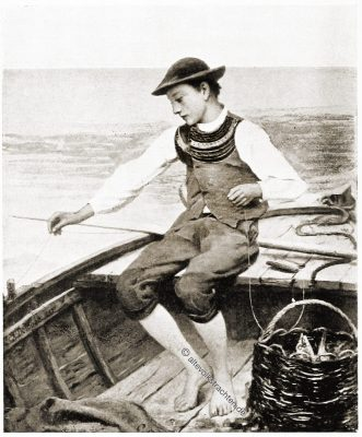 Fischerjunge, Volkstracht, Kostüm, Tracht, Bretagne, Brittany, Trachten, Sabine Baring-Gould,