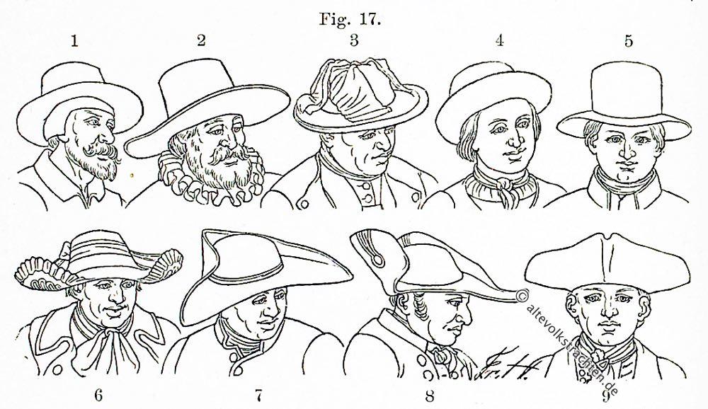 Hutmode, Hüte, Hutformen, Barock, Rokoko, Kostümgeschichte, Friedrich Hottenroth, Bauerntrachten