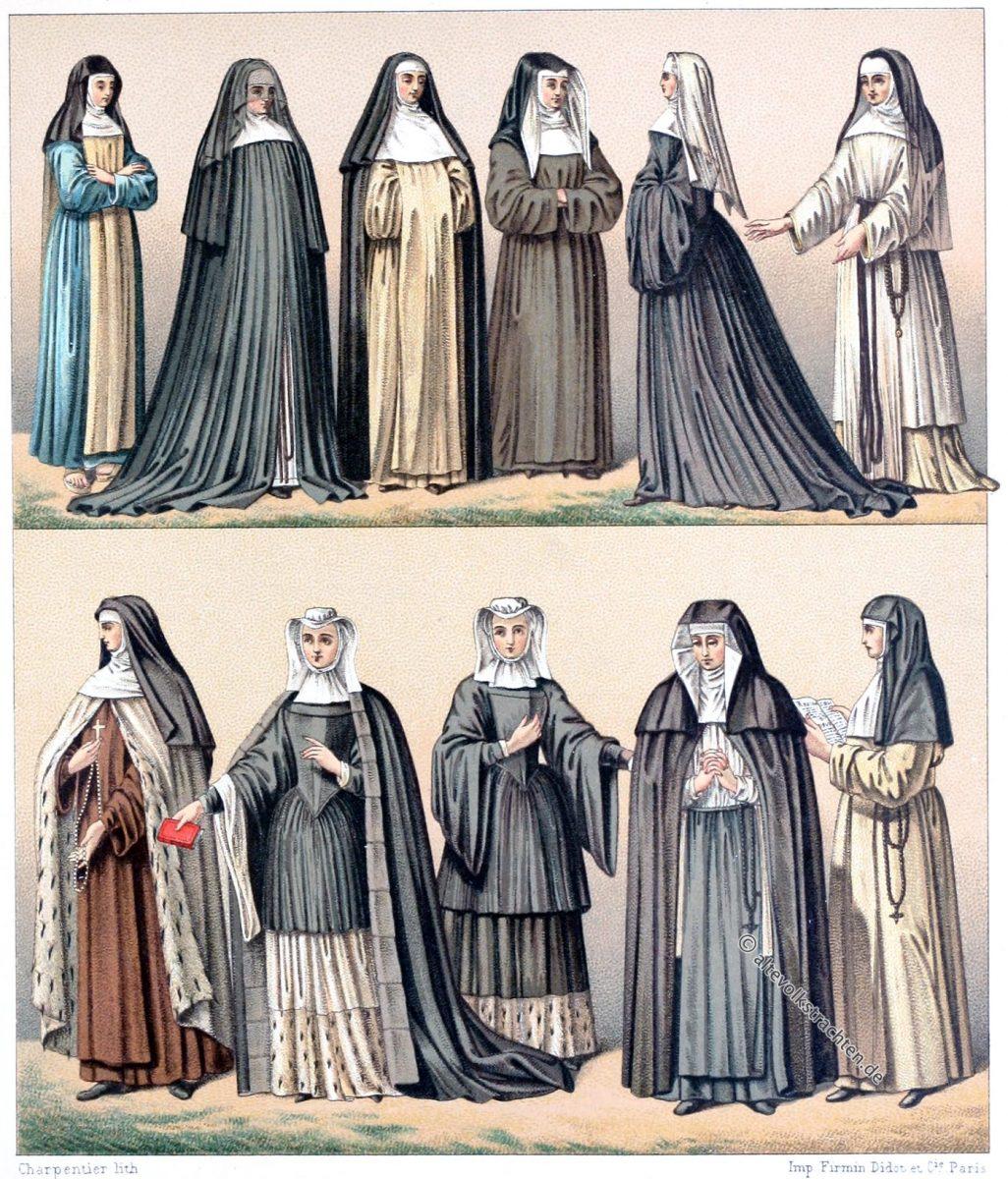 Ordenstrachten, Karmeliter, Hospitaler, Paulusschwestern, Magdalenenorden, Benediktiner, Nonnen,