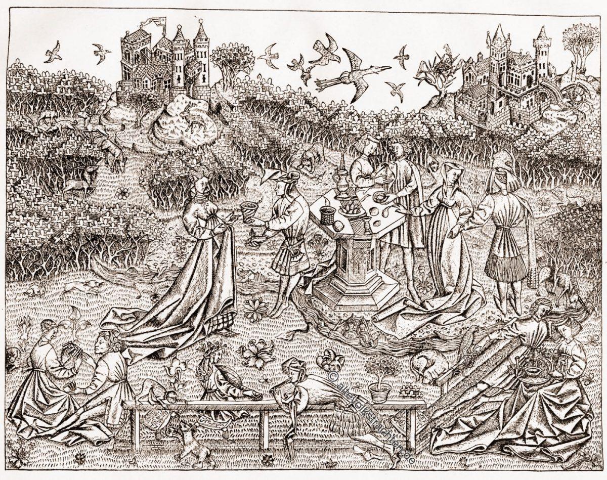 Garten, Liebe, Liebesgärten, Mittelalter, Kleidung, Leben, Minne