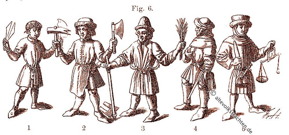 Bauerntrachten, Handwerkertrachten, 15. Jahrhundert, Friedrich Hottenroth
