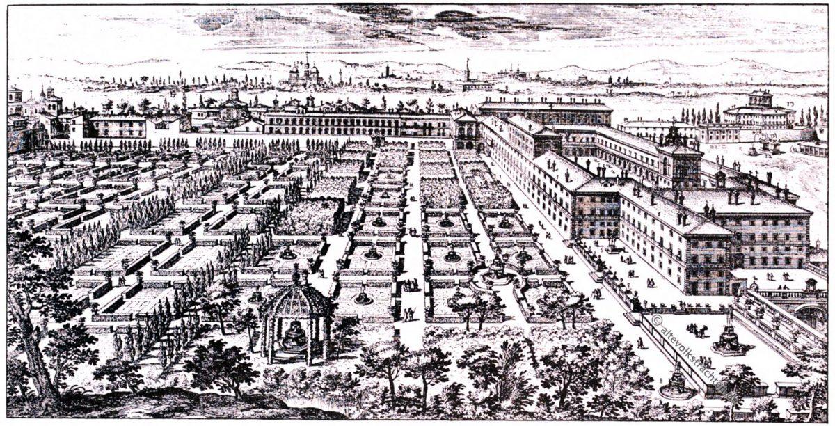 Palazzo del Quirinale, Quirinalgarten, Giovanni Battista Falda, Renaissance, Architektur, August Grisebach