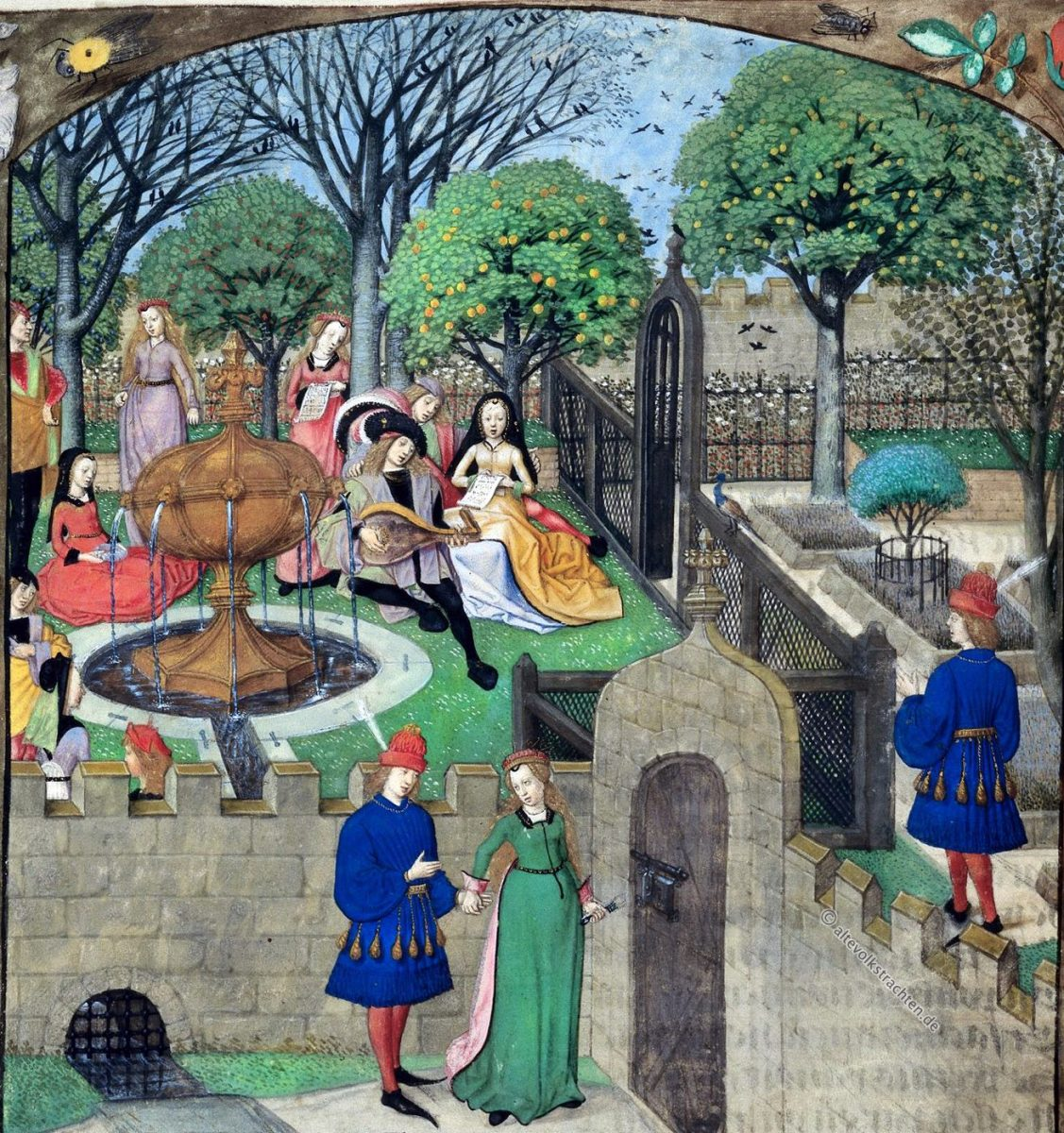 Roman, Rose, Medieval, Garden, Costumes, trompe l'oeil