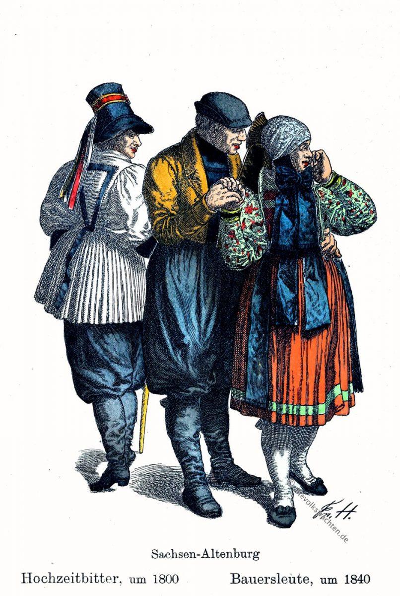 Bauersleute, Sachsen-Altenburg, Thüringen, Hochzeitbitter, Trachten, Kostüme, Friedrich Hottenroth