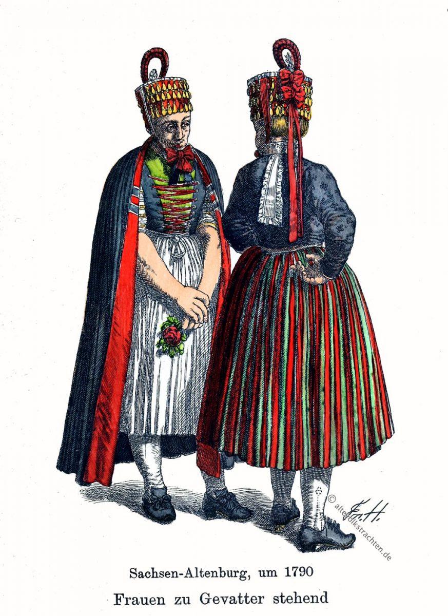 Hormtjungfern, Gevatter, Bauer, Sachsen-Altenburg, Thüringen, Trachten, Kostüme, Friedrich Hottenroth