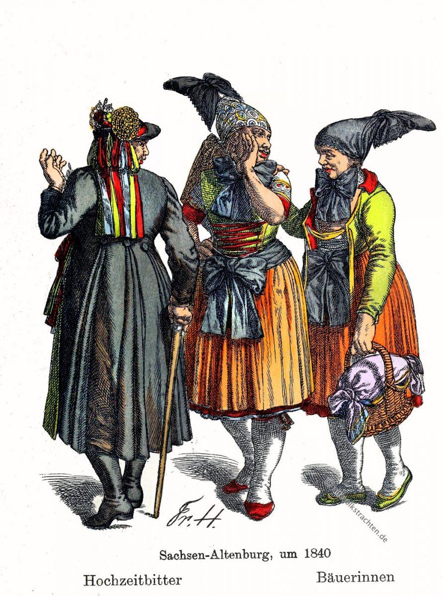 Hochzeitbitter, Bäuerinnen, Bauer, Sachsen-Altenburg, Thüringen, Trachten, Kostüme, Friedrich Hottenroth
