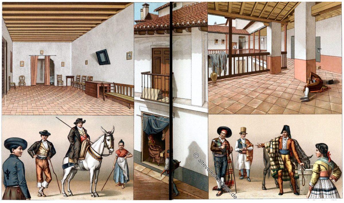 Patio, Casa de Pupillos, Huéspedes, Andalusien, Spanien, Auguste Racinet, Trachten, Kostüme
