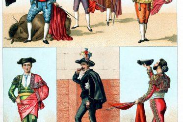 Kostüme, Spanien, Stierkampf, Joaquin Rodriguez, Costillares, Pedro Romero, Alguacils, Peones, Espadas, Banderilleros Chulos,