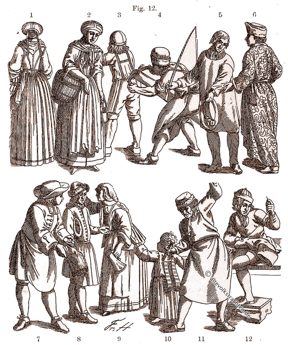 Trachten, Barock, Mode, Handwerker, Friedrich Hottenroth, Bauerntrachten,