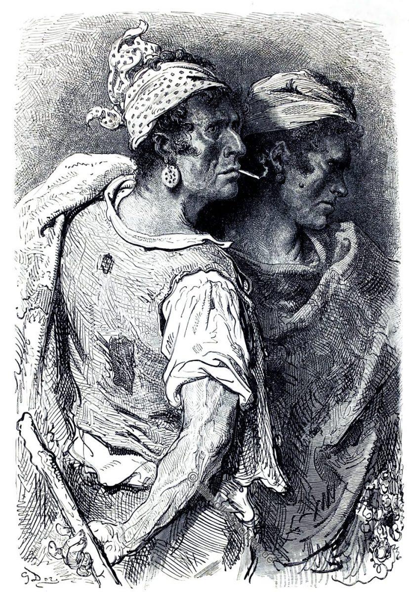 GustaveDoré, Espagne, Bauerntrachten, Carcaixent, Carcagente, Trachten, Spanien,