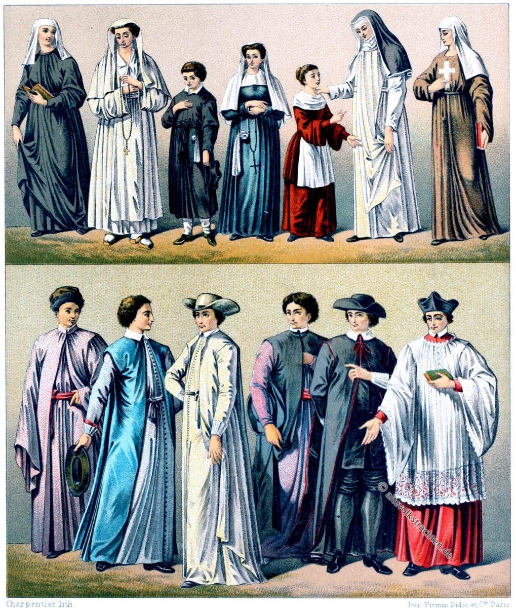 Ursulinen, Nonnen, religiöse Trachten, Ordensgewand, Auguste Racinet