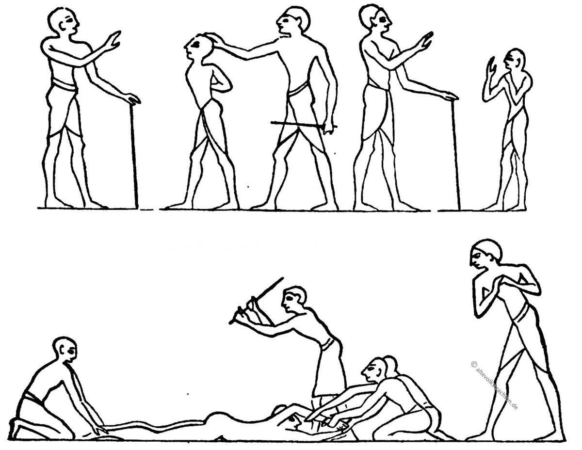 Geißelung, Bestrafung, Ägypten, Antike, Kultus, Isisfest, Skulpturen, Priester