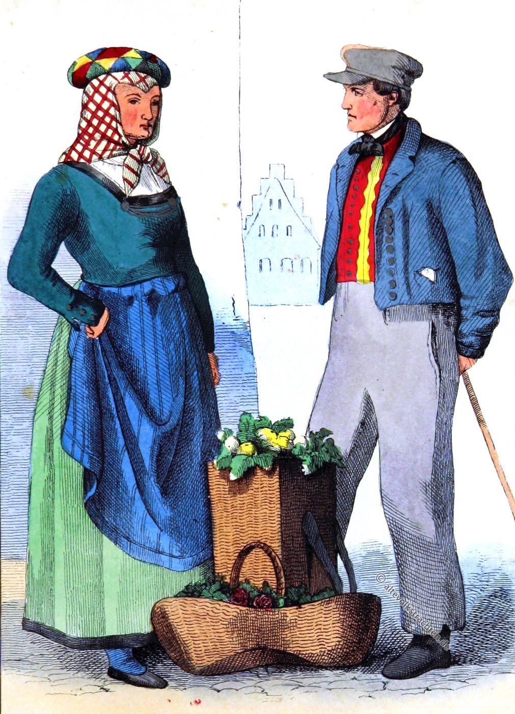Bauerntrachten, Trachten, Lüneburg, Niedersachsen, Kostüme, Kleidung, Eduard Duller