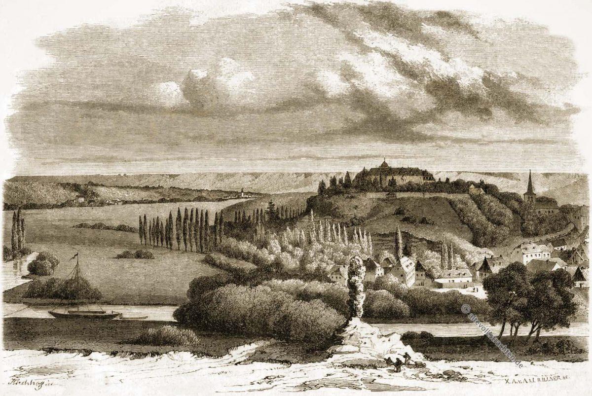 Burgscheidungen, Burg, Scheidungen, Hofburg, Thüringen, König, Mittelalter, Kupferstich,