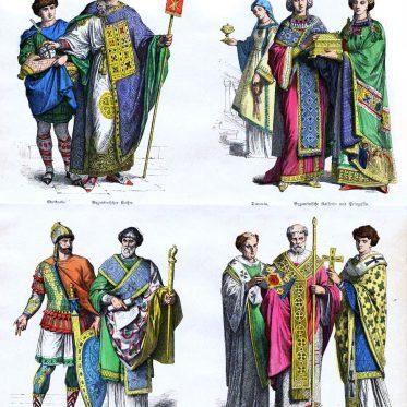 Byzantiner Kleidung. Erste Hälfte des 6. Jahrhunderts.