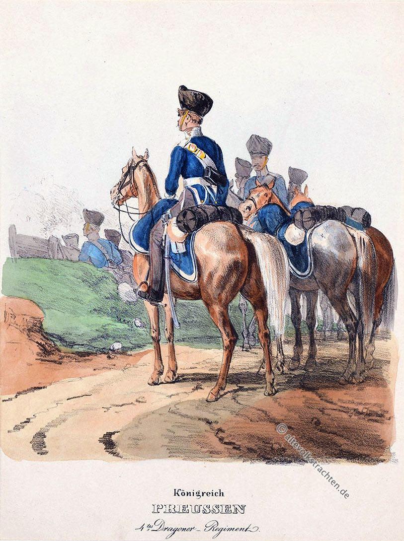 Soldaten, Militär, Uniformen, Königreich, Preussen, 4. Dragoner Regiment, Uniform