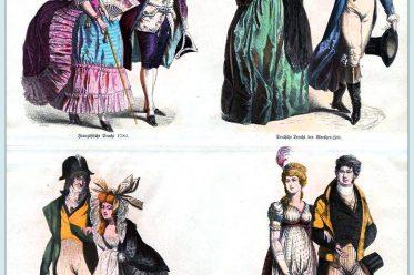 Münchener Bilderbogen, Kleidung, Mode, Trachten, Werther, Incroyables, Frankreich, Empire, Regency