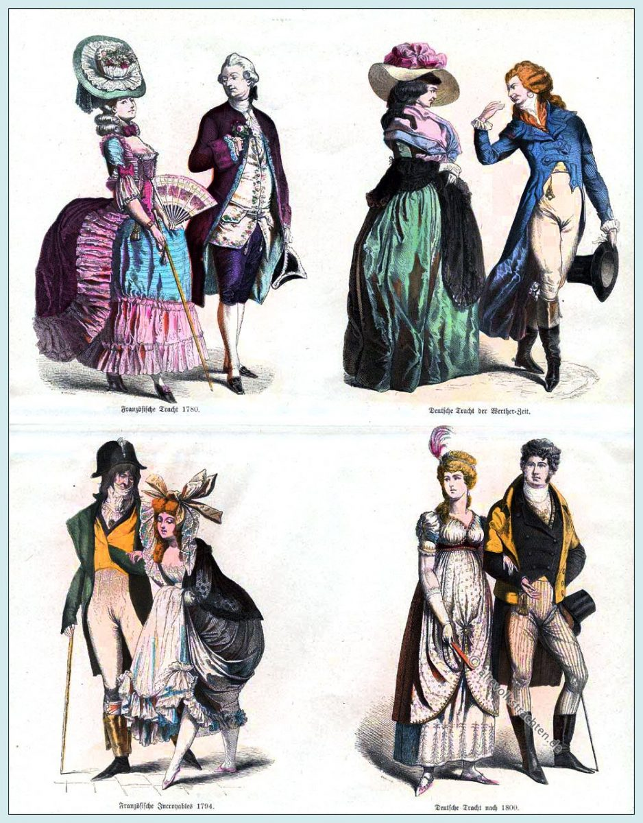 Münchener Bilderbogen, Kleidung, Mode, Trachten, Werther, Incroyables, Frankreich, Empire, Regency,