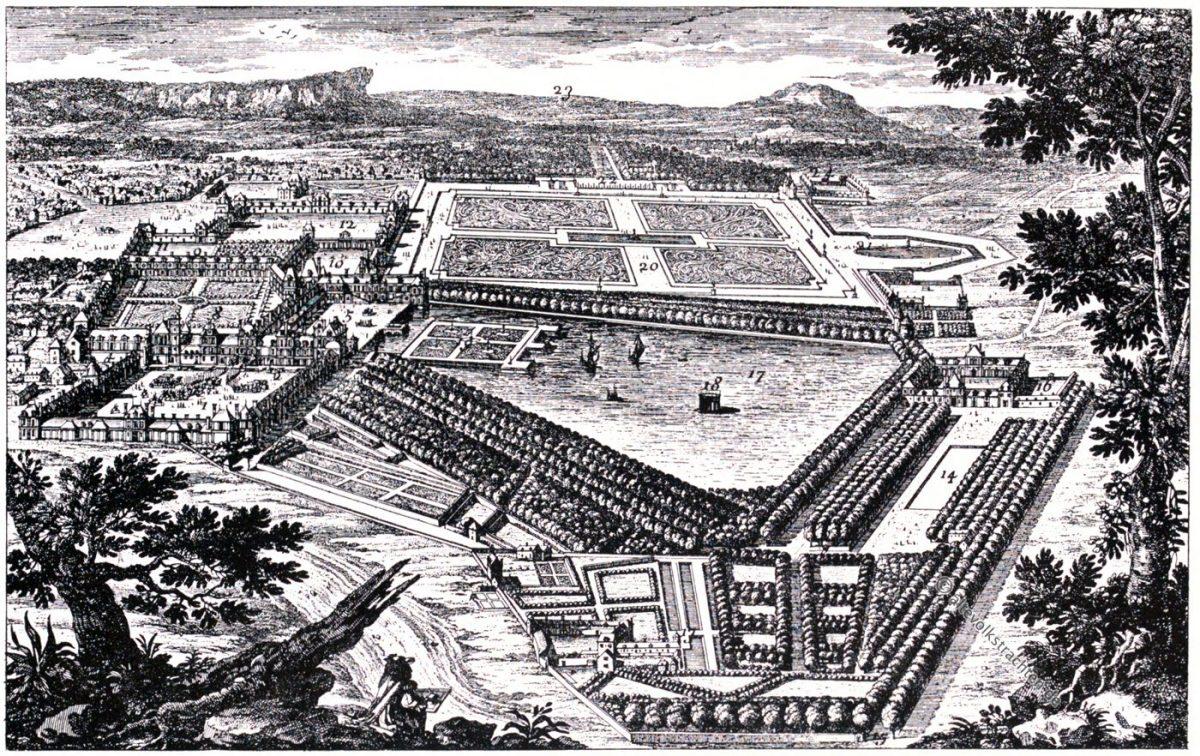 Fontainebleau, Kupferstich, Gabriel Perelle, August Grisebach, Garten