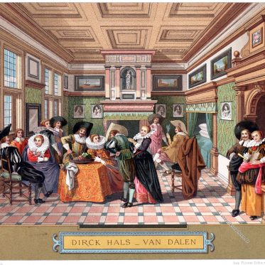 Salon der eleganten Gesellschaft in Holland um 1650.