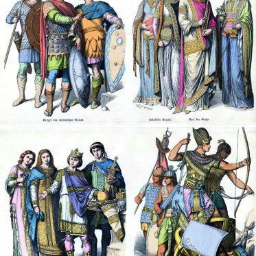 Karolinger, Byzantiner, Fränkische Hoftrachten im Mittelalter.
