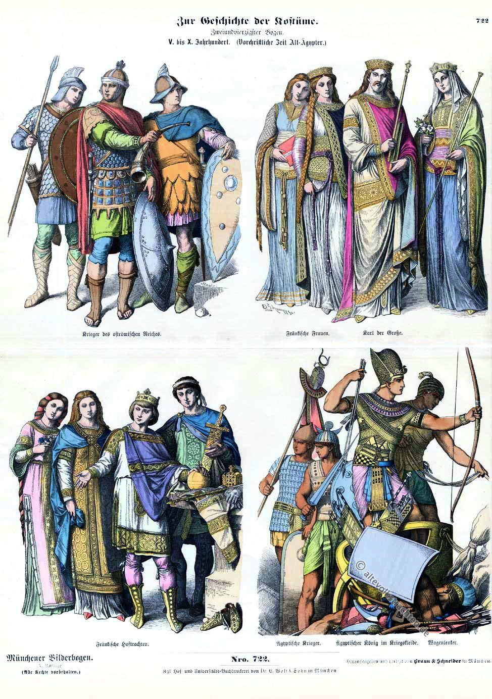 Fränkische Krieger, Soldaten, oströmisches Reich, Karl der Große, Fränkische Hoftrachten, Ägyptischer König, Wagenlenker