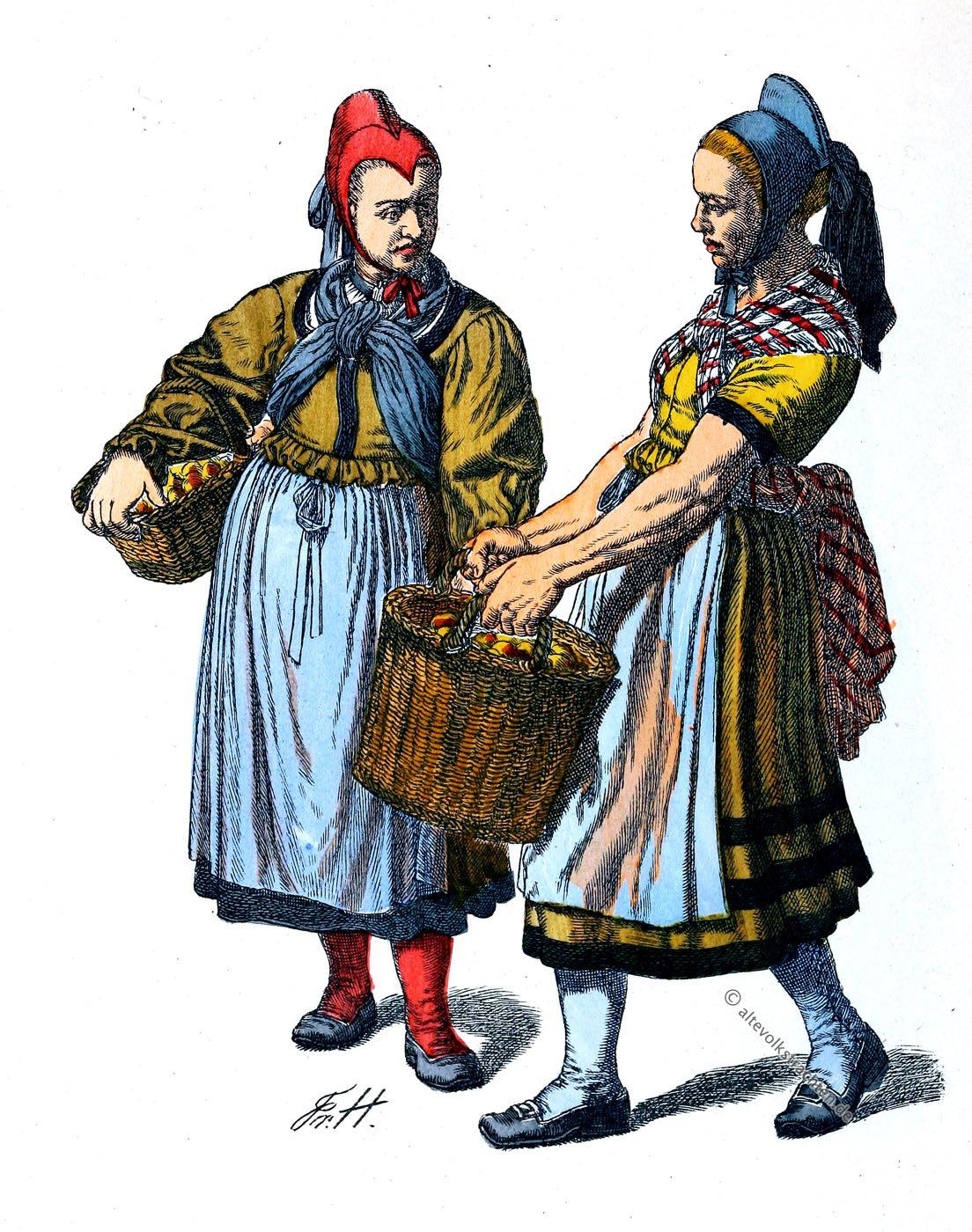 Helsa, Kassel, Bäuerinnen, Trachten, Kleidung, Friedrich Hottenroth