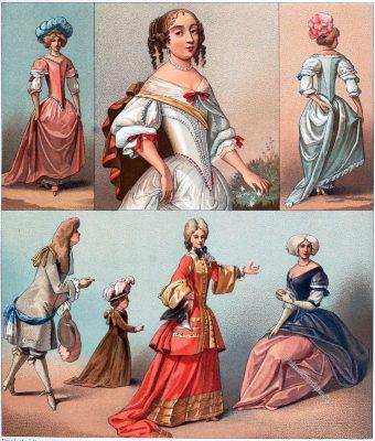 Racinet, Frankreich, Mode, Barock, 17. Jahrhundert, Ludwig 14, Louis XIV