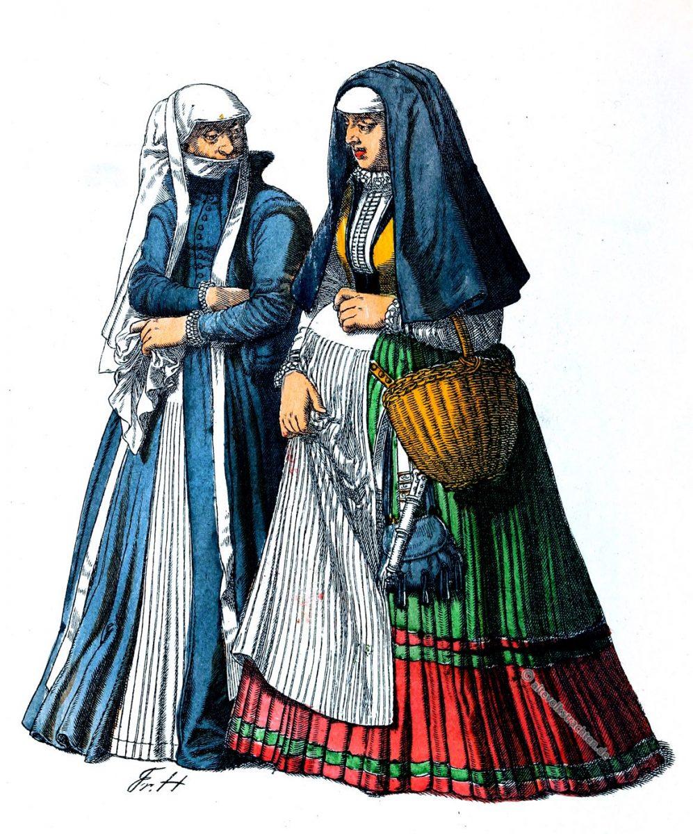 Kleidung, Kostümgeschichte, Renaissance, Kostüme, Marburg, Trauerkleidung, Friedrich Hottenroth