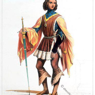 Deutscher Edelmann im 14. Jahrhundert. Mode im Mittelalter.