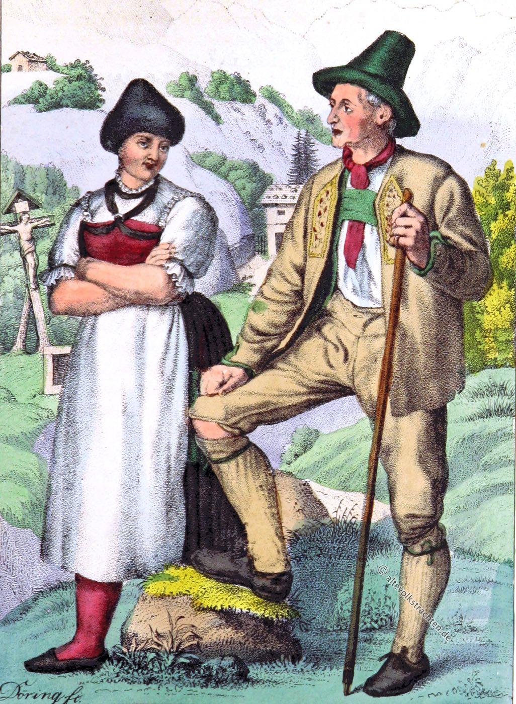 Tiroler Trachten, Oberinntal, Oetztal, Tracht, Kleidung, Österreich, Eduard Duller,