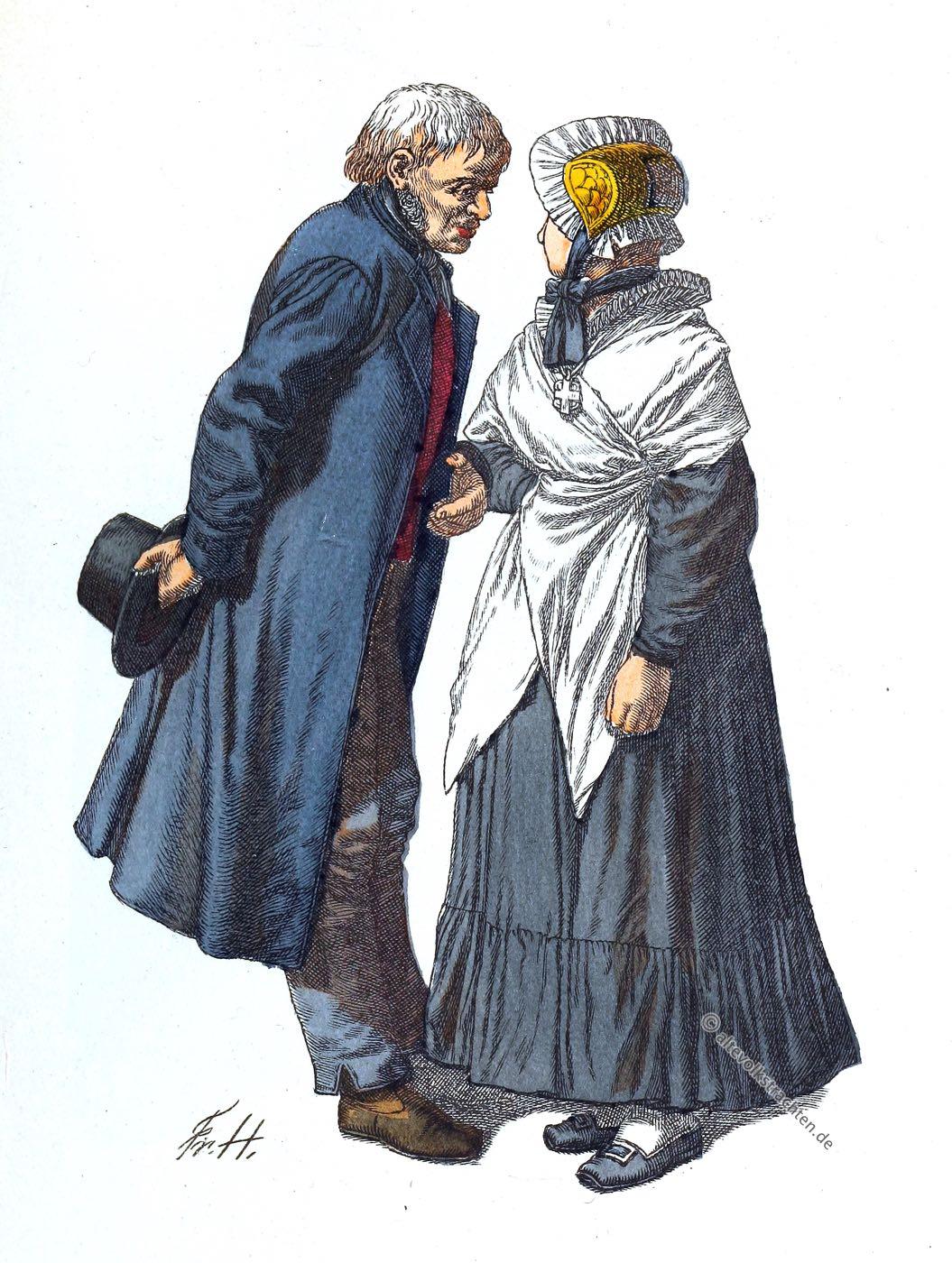 Kleidung, Osnabrück, Niedersachsen, Bauerntrachten, Sonntagstracht, Kostüme, Friedrich Hottenroth, Kostümgeschichte