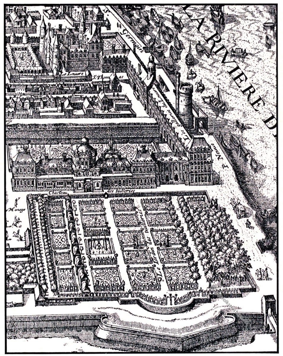 Tuileriengarten, Stadtplan, Merian, Kupferstich, Barock, Paris, Tuilerien