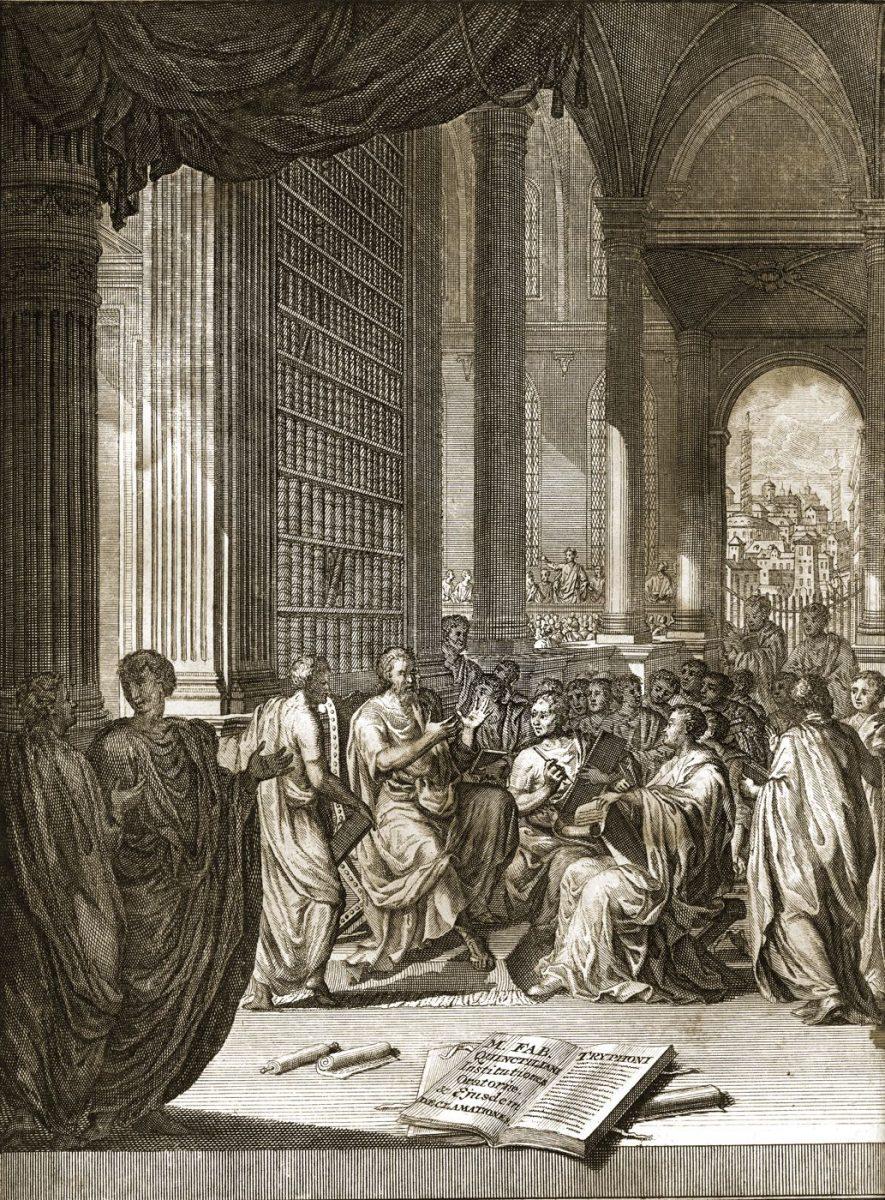 Marcus Fabius Quintilianus, Quintilian, Kupferstich, Redekunst, Lehrbuch, Rhetorik, Bleyswyk,