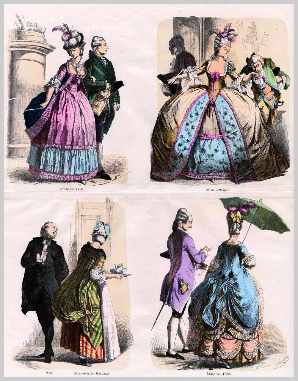 Rokoko, Mode, Dame, Reifrock, Abbé, Tracht, Dienerin, Contouche, Kostüme, Münchener Bilderbogen
