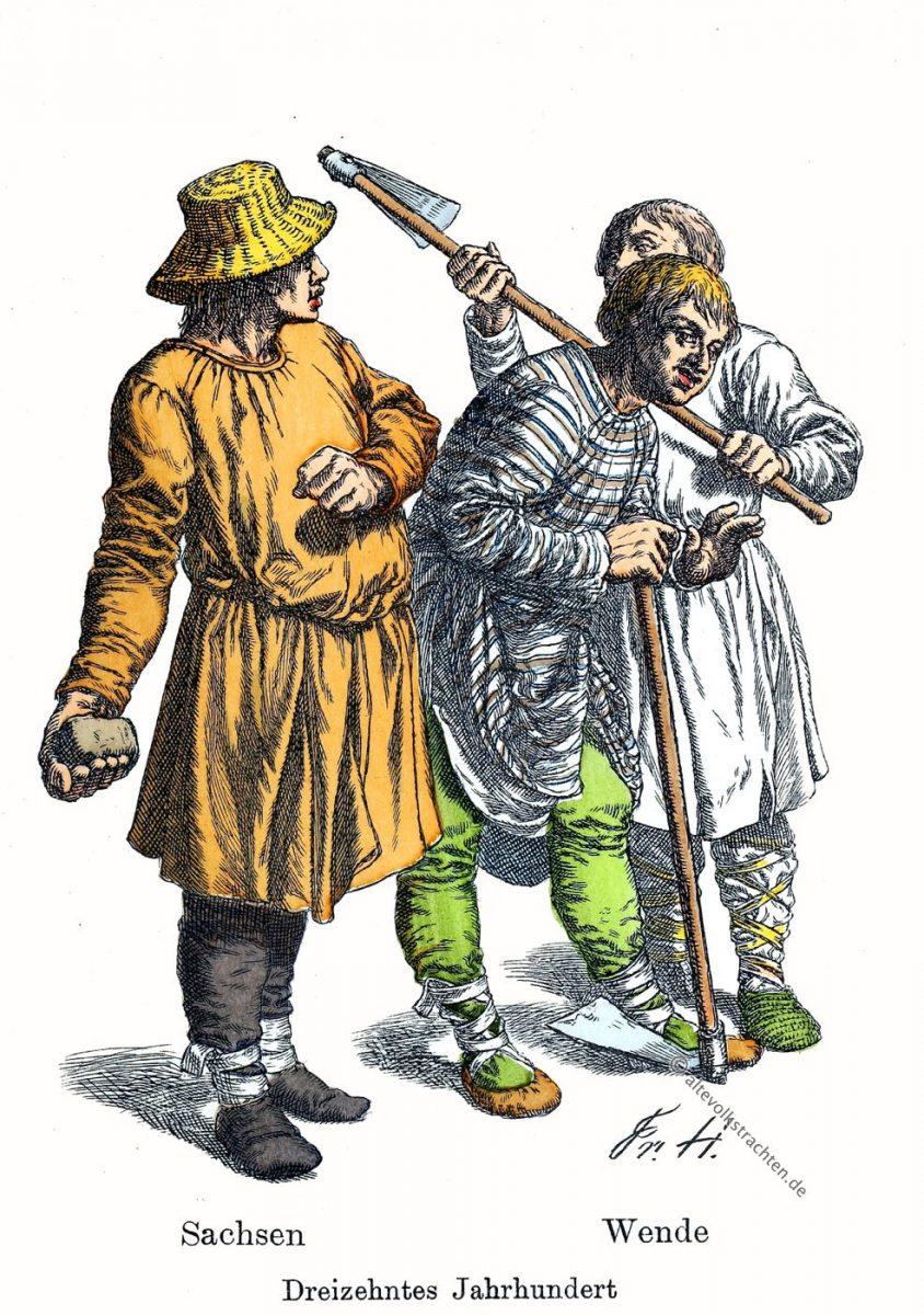 Kleidung, Sachsen, Wenden, 13. Jahrhundert, Trachten, Mittelalter, Friedrich Hottenroth