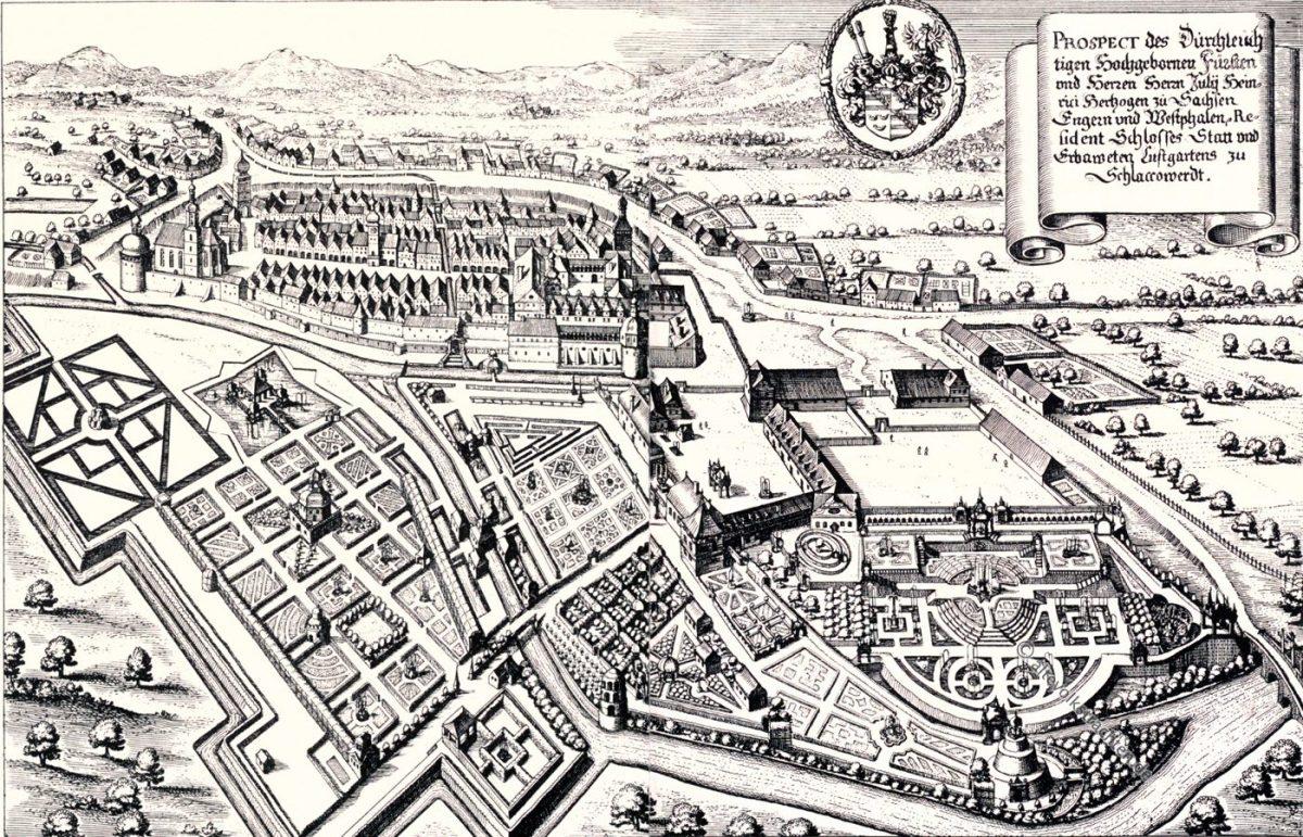 Schlaccowerdt, Ostrov, Merian, Kupferstich, Stadtplan, Barock, August Grisebach