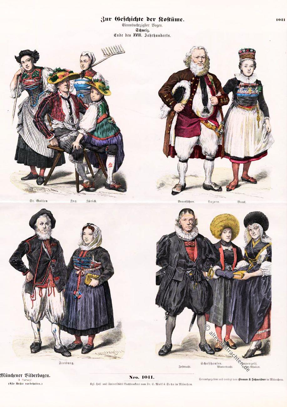 Münchener Bilderbogen, Festtracht, Brautführer, Luzern, Braut, St. Gallen, Zug, Zürich, Appenzell, Ausserrhoden, Schaffhausen, Wintertracht