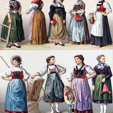 Frauentrachten aus der Schweiz nach A. Racinet.
