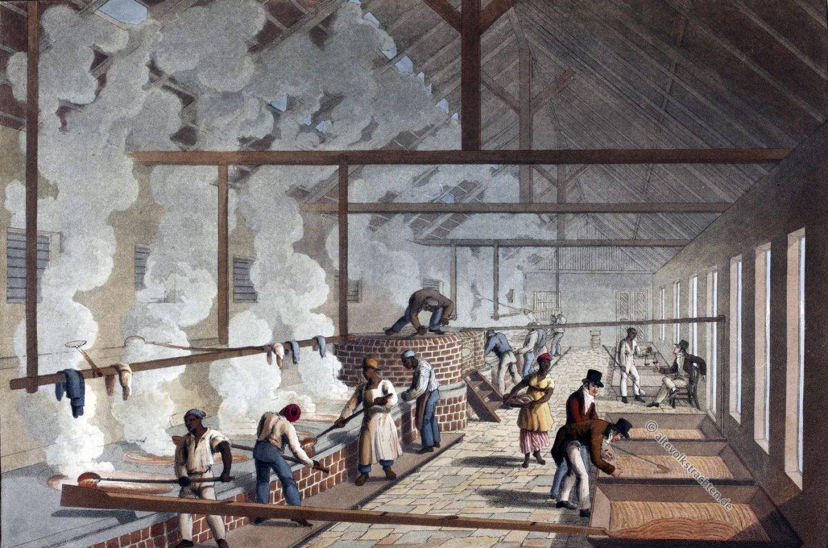 Siedehaus, Sklaven, Zuckerrohr, Plantage, Antigua, Kolonialismus, Bermudas, Karibik, William Clark
