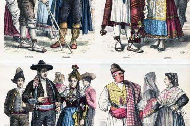 Kostüme, Trachten, Spanien, Münchener Bilderbogen, Valencia, Granada, Alicante, Zamora, León, Segovia, Murcia