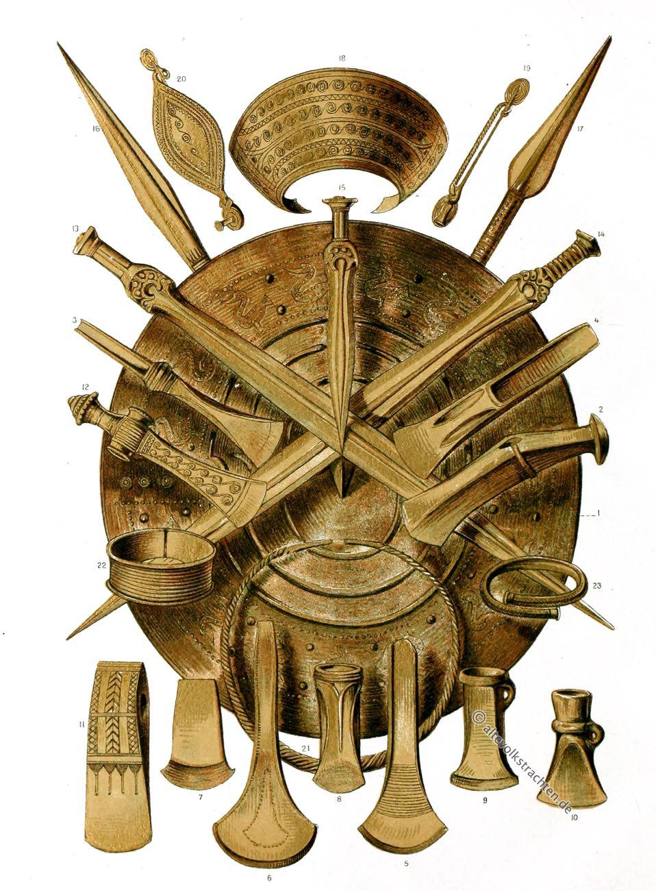 Bronzezeit, Waffen, Geräte, Schmuck, Skandinavien, Steinaxt, Schaftcelte, Hohlcelte, Bronzeschwerter, Bronzeäxte
