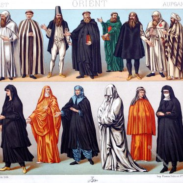 Auguste Racinet, Mönche, Nonnen, Ordenstrachten, Orient, Christen, Karmeliter, Acoemetae, Acemetisch, studitisch
